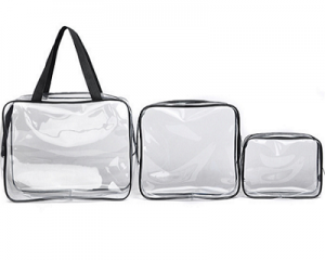 3pc Clear Makeup Travel Bag Set