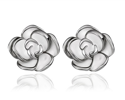 18K White Gold Plated Flower Shape Earrings
