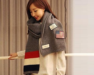 Chic Color Block Long Knit Scarf