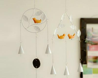 Metal Wind Chimes With Birds (Set of 2)