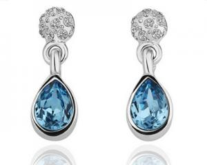 18K White Gold Plated Blue Drop Earrings