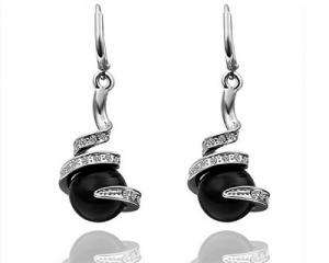 18K White Gold Plated Black Pearl Earrings