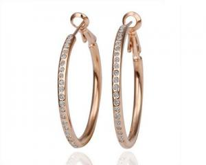 18K Gold Plated Round Crystal Earrings