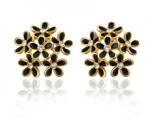 18K Gold Plated Black Flower Earrings