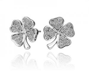 18K White Gold Plated Lucky Leaf Earrings