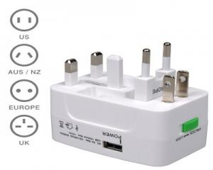 Universal Travel Adapter With USB Port 1000 mAh.