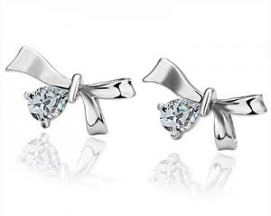 18K White Gold Plated Crystal Earrings